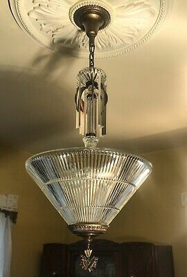 Antique Vintage Large Art Deco 5 Light Chandelier, big holophane shade, Unique!!