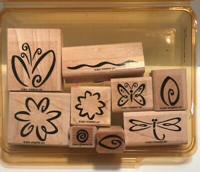 Stampin' Up! Two-Step Stampin' Fresh Flowers Rubber Stamp 9pc Set 2001 Scrapbook