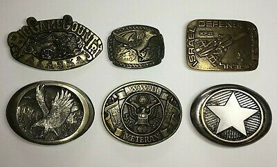 Vintage Brass and Pewter ? Belt Buckles Lot of 6 All Offers Considered