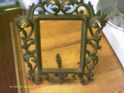 Vintage Heavy Cast Metal Ornate Picture Frame With Hinged Stand/Fantastic