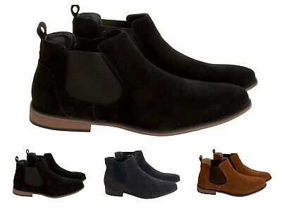 Mens Faux Suede Chelsea Boots Smart Casual Desert Dealer Ankle Boots Shoes Size