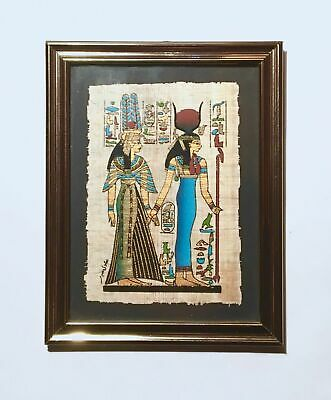 Ancient Egyptian Goddess Isis and Queen Nefertari Papyrus Painting