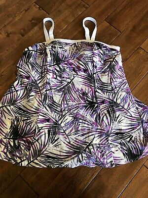 03fdf44c1ea6d Women's Plus Size 22 Black Purple Tropical One Piece Swimsuit Bathing Suit  Dress