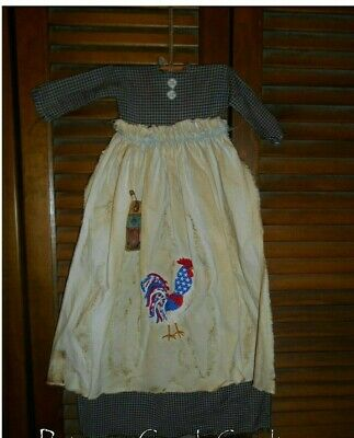 Primitive Wall Dress BLUE CHECK AMERICANA ROOSTER,Patriotic,July 4th,Prim,Grungy