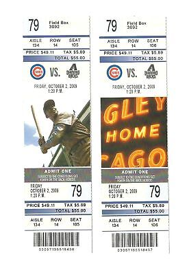 Chicago Cubs Vs Arizona Diamondbacks Unused Baseball Tickets From 10/2/2009