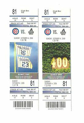 Chicago Cubs Vs Arizona Diamondbacks Unused Baseball Tickets From 10/4/2009