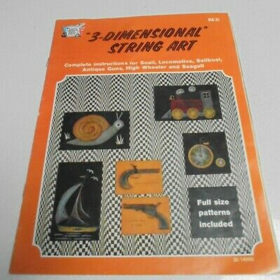 HA31 String Art 3 Dimensional String Art Book 6 pjts Train Antique Guns Sailboat