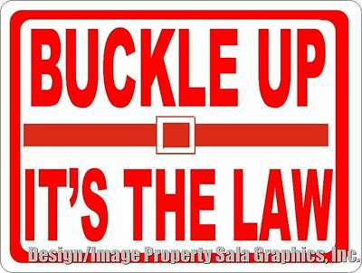 Buckle Up It's The Law Sign. Size Options. Driver Seatbelt Safety Signs.
