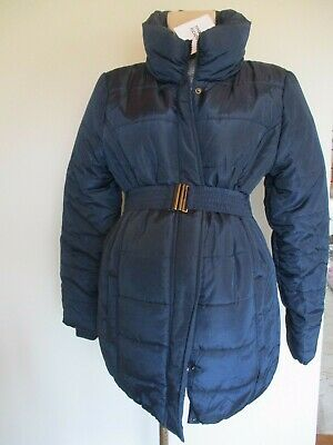 Mama-Licious Maternity Navy Quilted Coat Mac Jacket Size L Uk 12-14 Bnwt Rrp £55