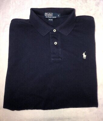 VTG Polo Ralph Lauren Mens Navy Blue L Large Shirt Short Sleeve Vintage 90's EUC