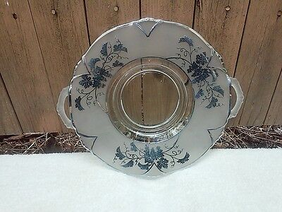 Sterling Silver Overlay on Satin Glass Platter Tray