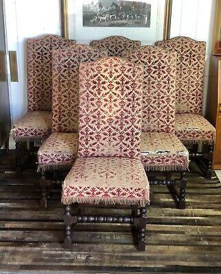 Set 8(6+2) French Antique Late 17th Century Stuffed Over High Back Dining Chairs