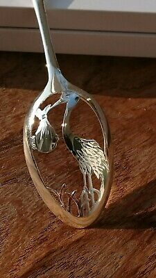 Antique Hand-Carved Sterling Silver Christening Spoon - 'A New Arrival'