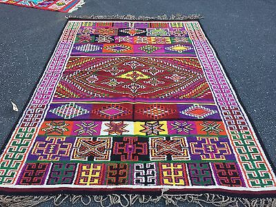 Auth: Antique Tunisian Kilim Rug, Organic Dyes, Spectacular Rare Collectable!