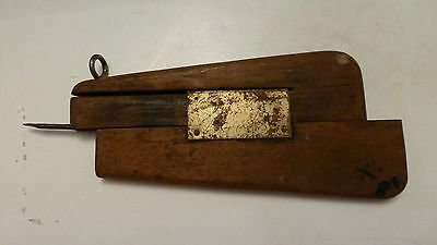 Vintage Rug Hook, Punch, Needle, Awl, Wood with Brass Slide, No Markings