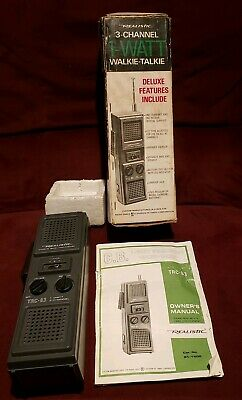 Vintage Realistic TRC-83 3-Channel Transceiver No. 21-1605 Manual Walkie Talkie