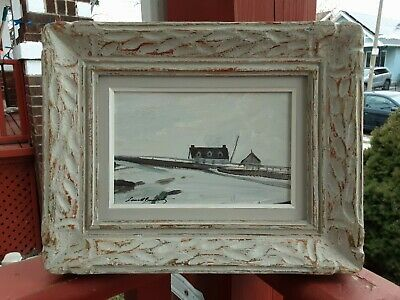Listed Canadian artist Lorne Bouchard Quebec City winter landscape oil painting