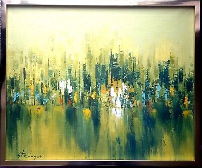 RARE 1970s RETRO VINTAGE ABSTRACT CITYSCAPE OIL PAINTING GREAT FRAME WOW!!