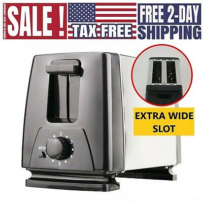 2 Slice Extra Wide Slot Toaster for Bagel Thick Bread Stainless Steel Toaster