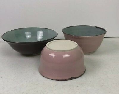 3 Vintage Pottery Nesting Mixing Bowls Asian Mark Pink Sea Glass Green Brown