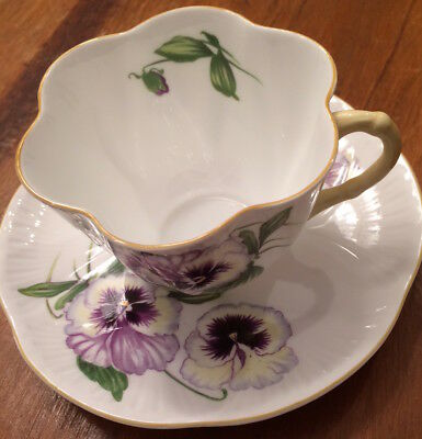 "Shelley ""Pansy"" Pattern Teacup & Saucer in Dainty Shape #13823 with Yellow Trim"