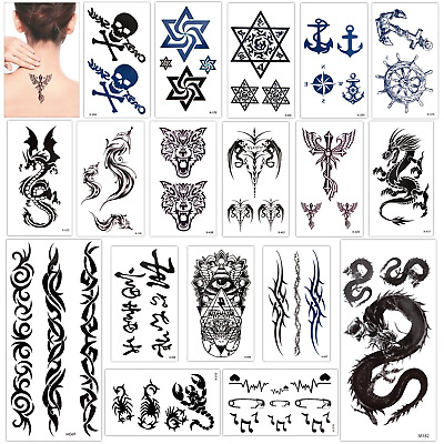 Konsait Temporary Tattoo for Adults Men Women Kids 18 Sheets, Waterproof Tattoo