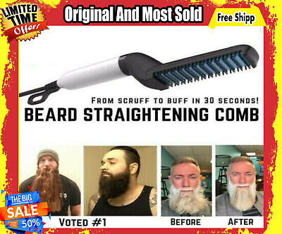 Great Quick Beard Straightener Multifunctional Hair Comb Curling Curler  Cap Men