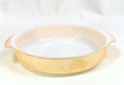 """Vintage FIRE KING Anchor Hocking Peach Lustre 9"""" Cake Pan Oven Ware Dish 429"""