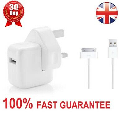 Genuine Apple 12W Mains Wall Charger Adaptor Plug+Cable iPad 1,2,3,iPhone 4 4S