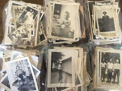 100 Vintage Antique B&w Snapshots Old Photos Black & White * Random Mixed Lot