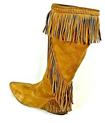 7d0b005d44fd SAM EDELMAN UTAH Womens Size 9.5 Brown Fringe Boots Suede Pull On ...