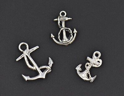 Vintage Anchor Rope 3D Sterling Silver Charm Small Medium Large Nautical Sailor