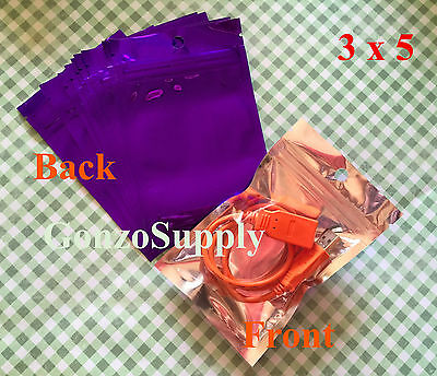 "350PC Clear Front Purple 3x5"" Zip Lock Mylar Bags-Snacks Crafts Products Spices"