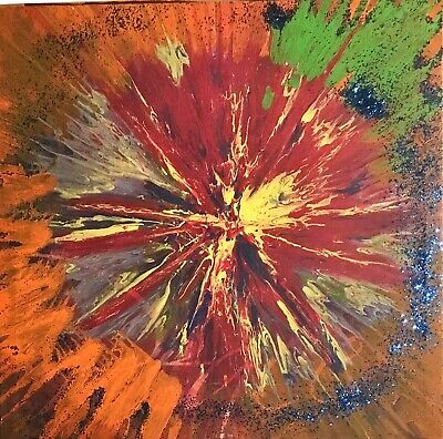 Multi-color big bang Original Abstract Fluid Art Acrylic Pour Painting On Canvas