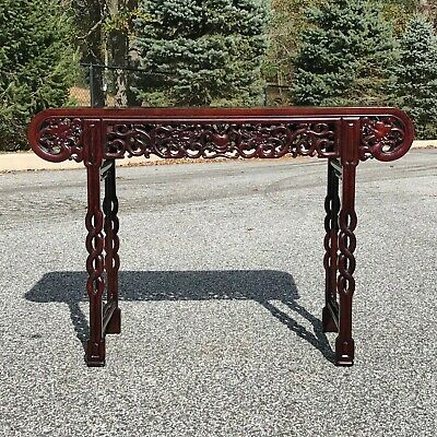 vintage Chinese Rosewood Carved Dragon Altar Table Console