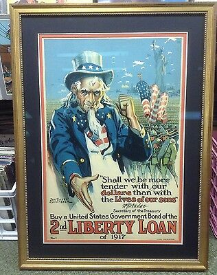 original Uncle Sam 2nd Liberty Loan 1917 Poster nicely framed!