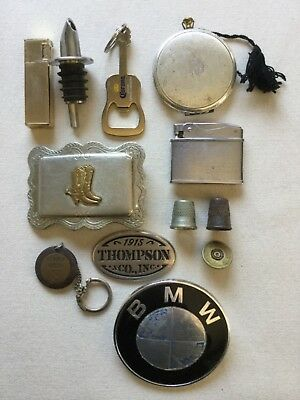 Mixed Lot 12 Collectible Vintage Items BMW Belt Buckle Thimbles, Compact Lighter