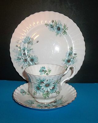 """Royal Albert  """"marguerite""""  Teacup,plate And Saucer Set In Blue Daisy Print"""