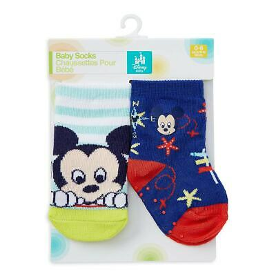 Disney Store Mickey Mouse 2pc Cute Sock Set For Baby 0 6 Months New