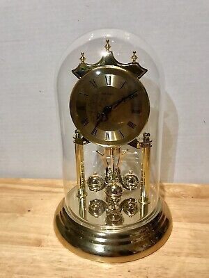 Vtg Rolfe Roberts Glass Dome Crystal Shelf Mantle Clock. Battery Included!