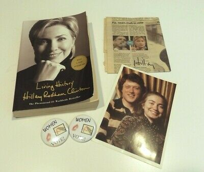 Collection of Hillary Clinton Memorobilia - Old Photo, Book, Signed