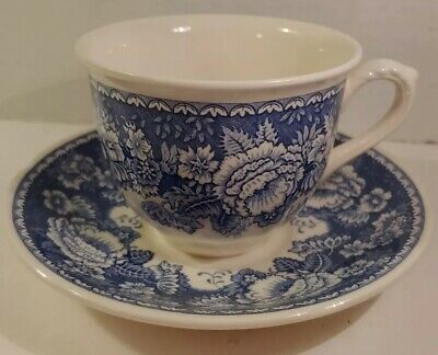 Mason's Blue & White Crabtree and Evelyn Tea Cup and Saucer Set Floral London