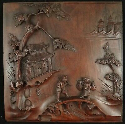 Antique Chinese Carved Rosewood Panel,2 Men on a Bridge, Qing Dyn.19th c