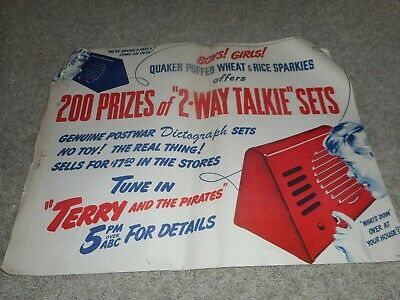 VINTAGE RARE QUAKER OATS WHEAT Cereal Advertising TOY WALKIE TALKIE POSTER SIGN