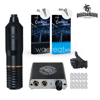 Dragonhawk Motor Rotary Pen Tattoo Machine Tattoo Set Kit Top Power Supply