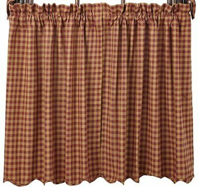 Burgundy Check Tiers Curtains 72WX24L Scalloped Lined Cotton Khaki VHC BRANDS