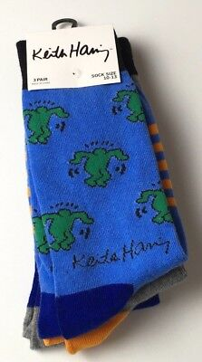 Keith Haring Men's Dress Art Socks Set Of 3  Size 10 - 13  Graffiti Stripe New