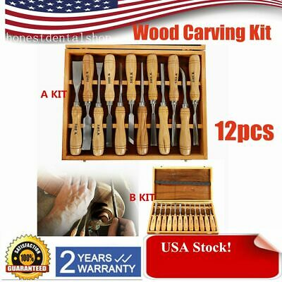 2019 12PC Wood Carving Hand Chisel Tool Set Woodworking Professional Gouges sale