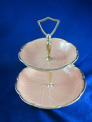 Org Vintage Mid-Century California Pottery- Ceramic 2 Tier Candy / Serving Dish