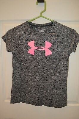 Girls UNDER ARMOUR Black Loose HeatGear Top with Logo Size YMD